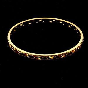 BRIGHTON~scroll cutout~14K GOLD PL BANGLE BRACELET